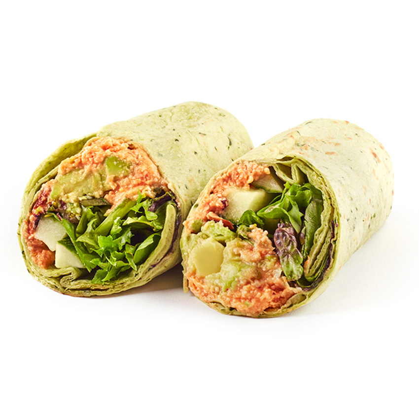 Avocado, red pepper & cashew nut tapenade wrap