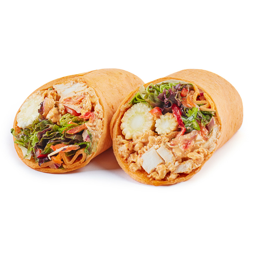 Chipotle chicken on sun-dried tomato wrap