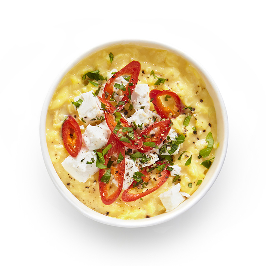 Scrambled Egg Protein Pot with Greek style cheese, herbs & chilli